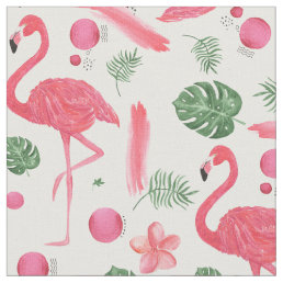 Pink watercolor tropical elegant flamingo floral fabric