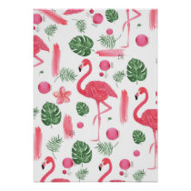 Pink watercolor tropical elegant flamingo floral poster