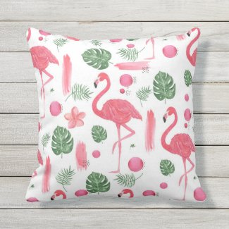 Pink watercolor tropical elegant flamingo floral