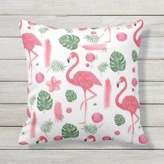 Pink watercolor tropical elegant flamingo floral throw pillow
