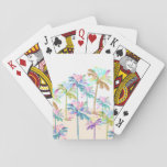 "Pink Watercolor Tropical Hawaiian Palm Trees Playing Cards<br><div class=""desc"">A beautiful tropical Hawaiian pink, teal, aqua, turquoise, green watercolor palm trees. A cool summer time colorful multicolor watercolor palm trees beach design on white sandy background . Get this relaxing watercolor tropical beach palm trees design for her on anyone on any occasion. The perfect gift idea.</div>"