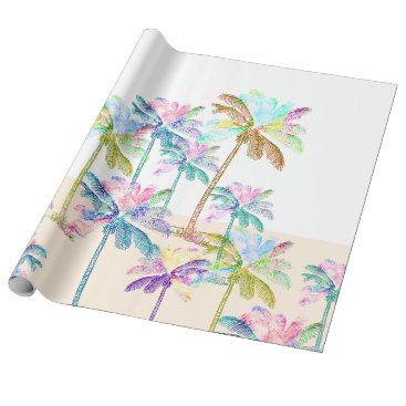 Beach Themed Pink Watercolor Tropical Hawaiian Palm Trees Wrapping Paper