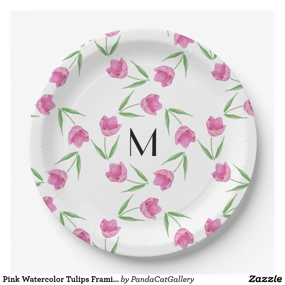 Pink Watercolor Tulips Framing Initial Paper Plate