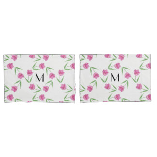 Pink Watercolor Tulips Framing Initial Pillow Case
