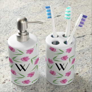Pink Watercolor Tulips Framing Initial Soap Dispenser & Toothbrush Holder