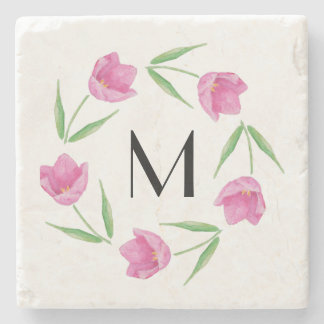 Pink Watercolor Tulips Framing Initial Stone Coaster