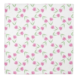 Pink Watercolor Tulips Pattern Polka Dots Duvet Cover