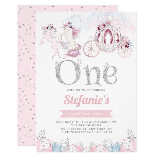 Pink Watercolor Unicorn Fairytale First Birthday Invitation
