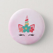 Pink Watercolor Unicorn Party Favor Buttons