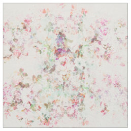 Pink watercolor vintage flowers pattern fabric