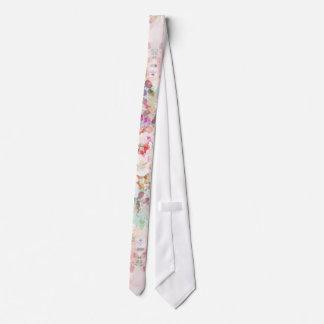 Pink watercolor vintage flowers pattern neck tie