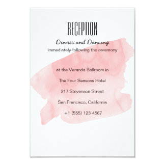 Pink Watercolor Wash Wedding Reception Card
