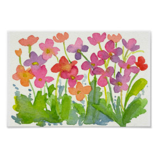 Pink Watercolor Wildflowers Cotton Candy Peach Poster