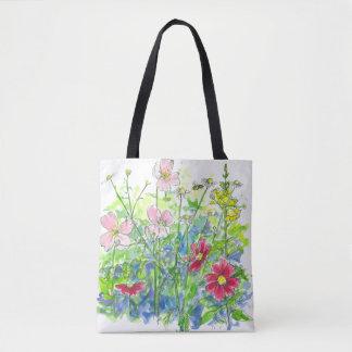 Pink Watercolor Wildflowers Snapdragons Cosmos Tote Bag