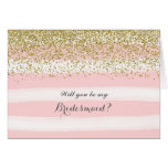 Pink Watercolor Will You Be My Bridesmaid Card