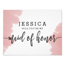 Pink Watercolor Will You Be My Maid of Honor Card