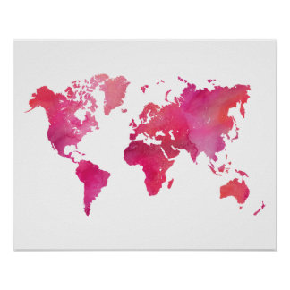 Pink Watercolor World Map Poster