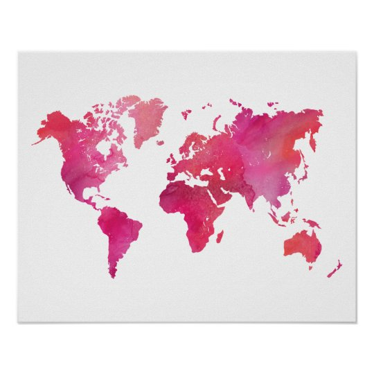 Pink watercolor world map poster zazzle pink watercolor world map poster gumiabroncs Images