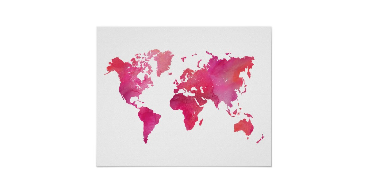 Modern world map posters zazzle pink watercolor world map poster gumiabroncs Gallery