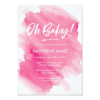 Pink Watercolour Baby Shower invitation