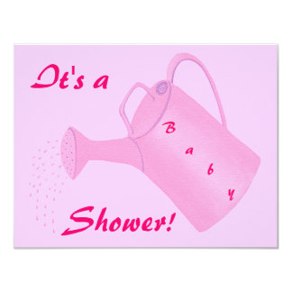 Pink Watering Can Baby Shower Invitations