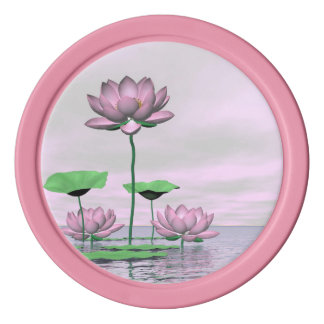 Pink waterlilies and lotus flowers - 3D render Poker Chips Set