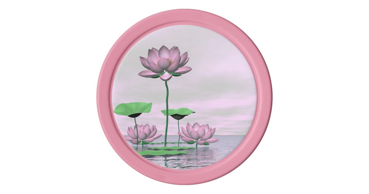 Pink Waterlilies And Lotus Flowers 3d Render Poker Chips Set
