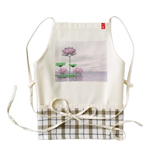 Pink waterlilies and lotus flowers - 3D render Zazzle HEART Apron