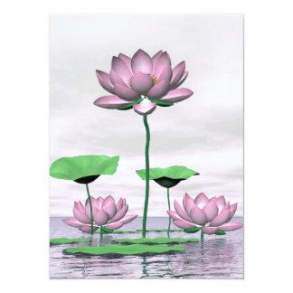 Pink waterlilies and lotus flowers card