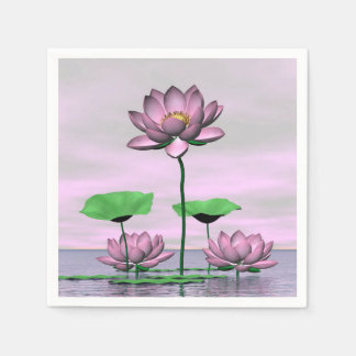 Pink waterlilies and lotus flowers paper napkin