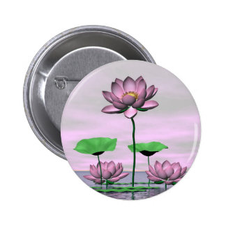 Pink waterlilies and lotus flowers pinback button