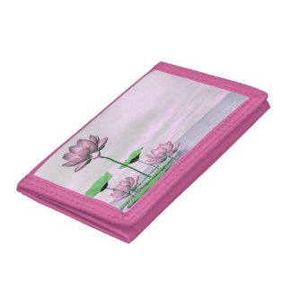 Pink waterlilies and lotus flowers trifold wallets
