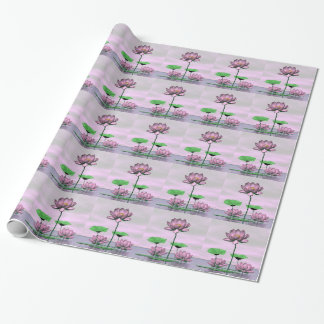 Pink waterlilies and lotus flowers wrapping paper