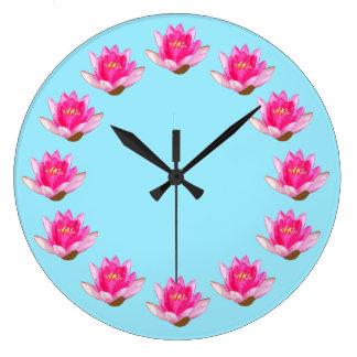 Pink Waterlilies Blue Large Clock