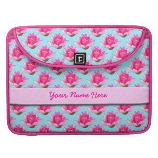 Pink Waterlilies Blue Sleeves For MacBooks