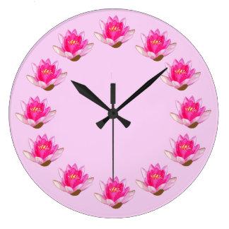 Pink Waterlilies Large Clock