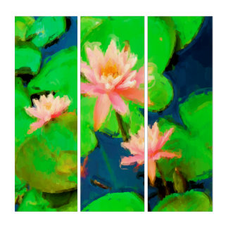 Pink Waterlilies Vivid Lily Pads Acrylic Triptych