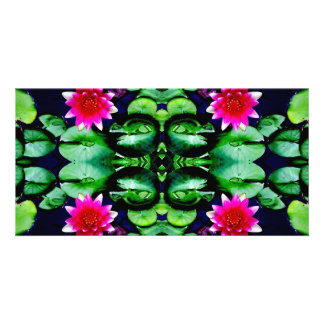 Pink Waterlily and Green Leaves Pattern Card
