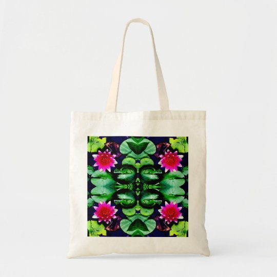 Pink Waterlily and Green Leaves Pattern Tote Bag