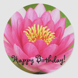 Pink Waterlily/Lotus Flower Birthday Sticker