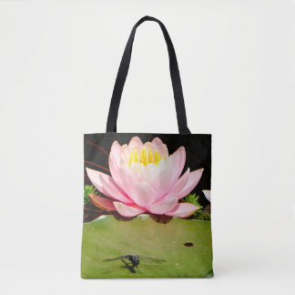 Pink Waterlily lotus flower personalized w/ Name Tote Bag
