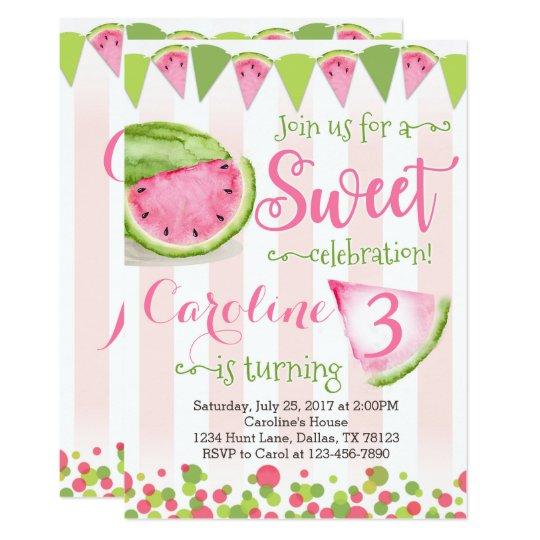 pink watermelon birthday party invitation invite zazzle com