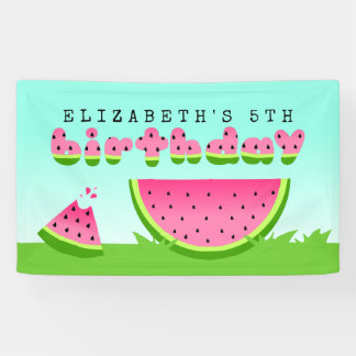 Pink Watermelon Birthday Picnic Party Banner