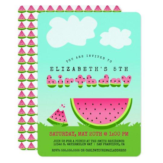 pink watermelon birthday picnic party invitation zazzle com