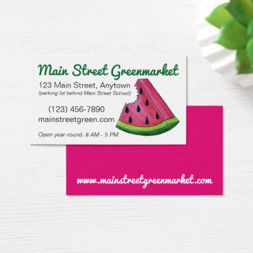 Beach Themed Pink Watermelon Fruit Melon Slice Food Market Business Card