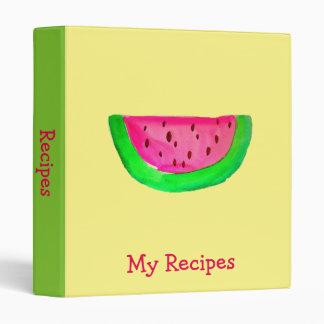 Pink Watermelon fruit pop art recipe Binder