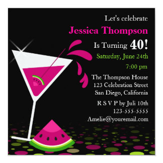 Pink Watermelon Martini Birthday Party Invitation
