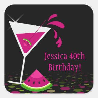 Pink Watermelon Martini Birthday Party Sticker