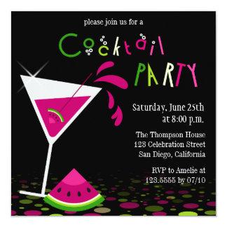 Pink Watermelon Martini Cocktail Party Invitation