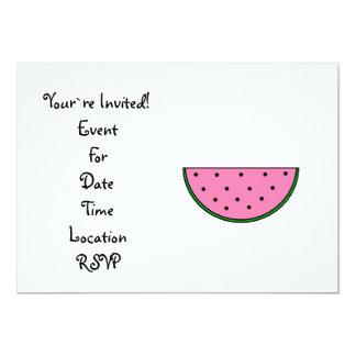 Pink watermelon slice 5x7 paper invitation card